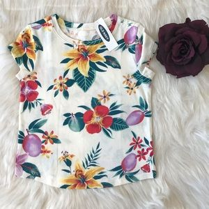 Old Navy Girls Floral Printed Crew Neck Tee Shirt